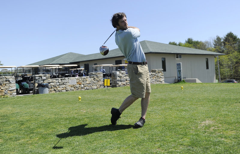 Sam Adams of Portland takes a practice swing at the North Course of Riverside Municipal Golf Course on Monday.