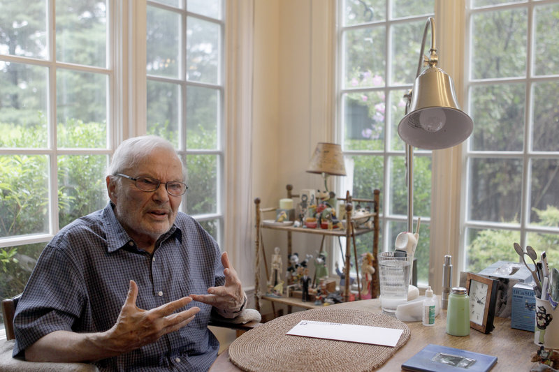 Children's book author Maurice Sendak conducts an interview at his home in Ridgefield, Conn., last year. He died Tuesday at age 83.