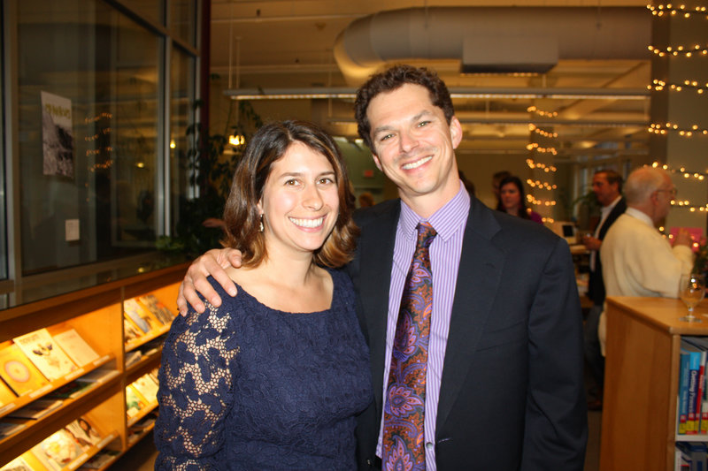 Rachael Weinstein Alfond and State Sen. Justin Alfond at the event, which spread over three floors of the downtown Portland art college.