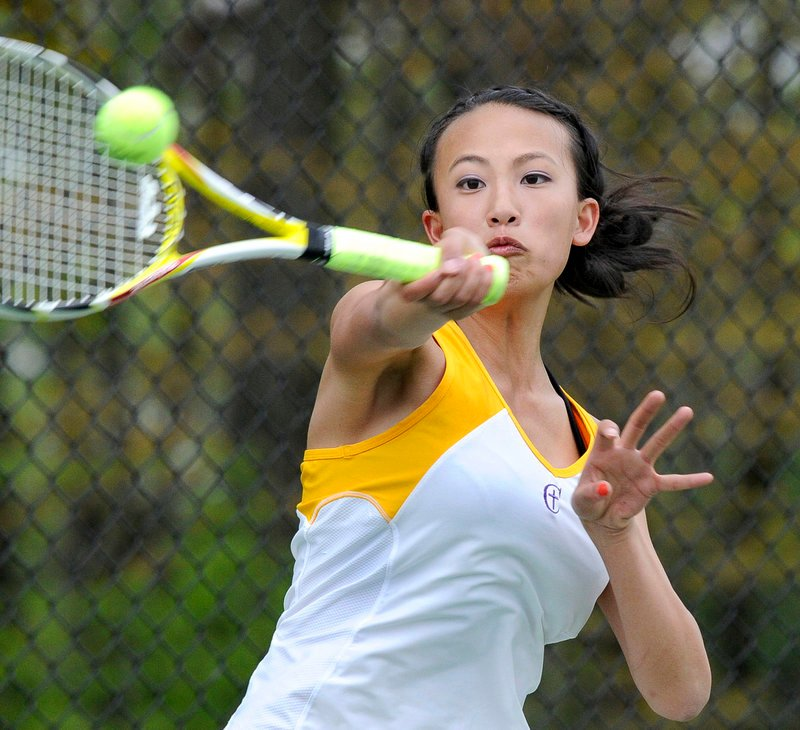 Abby Harrison of Cheverus played a strong match against McAuley freshman Devri Ramsey, although Ramsey earned a straight-set victory Wednesday at Payson Park.