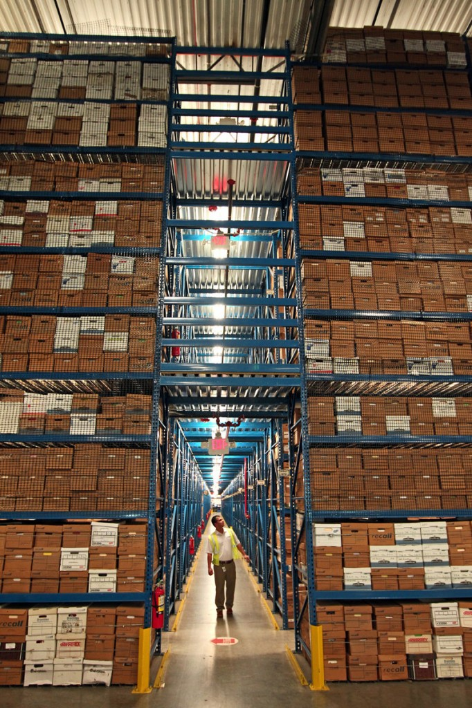Armando Sanchez walks through the Recall facility in Medley, Florida,. Recall runs 300 document warehouses across the country.