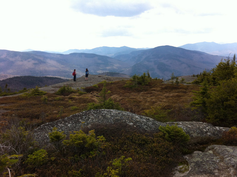 The summit of Caribou Mountain is expansive with plenty of places to explore views to the east and west. Hikers have to keep a careful eye out for trail blazes for the connection from the Mud Brook Trail to the Caribou Trail.