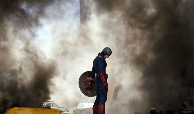 Chris Evans as Captain America during a low moment in