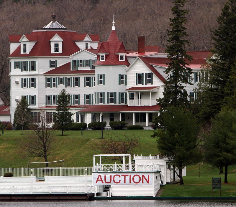 A large sign heralds the auction scheduled for today to clear more than 2,400 items from the Balsams Grand Resort Hotel in Dixville Notch, N.H. The nearly 150-year-old resort was sold last year to two businessmen for $2.3 million. They plan to re-open it in 2013.