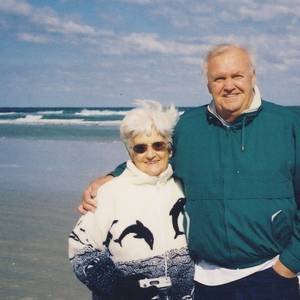 Dick Lucas and his wife, Coletta. Mr. Lucas, a fisherman, was a swimming star in high school.