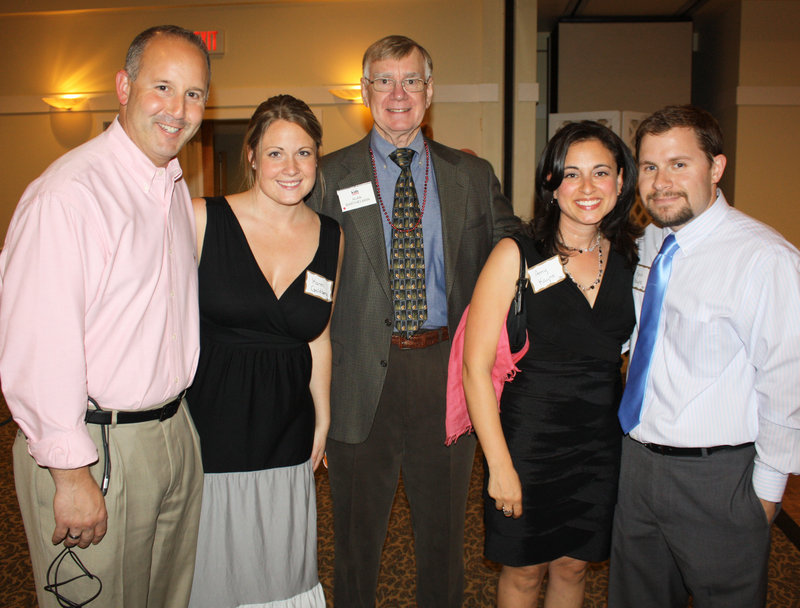 WCSH -6 sports director and party emcee Lee Goldberg, Karen Goldberg, board member Al Barthelman, Amy Kayne and Kevin Kayne, who designed the new logo.