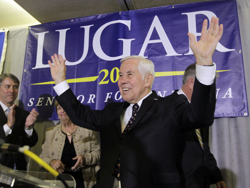 Sen. Richard Lugar gestures during a speech in Indianapolis earlier this month. Lugar was defeated in the Indiana GOP primary by challenger Richard Mourdock with the help of millions of dollars in spending by conservative groups.