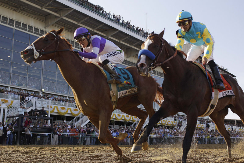 I'll Have Another, left, drives past Bodemeister at the finish to win by a neck Saturday in the Preakness. I'll Have Another is expected to seek the Triple Crown in the Belmont Stakes.