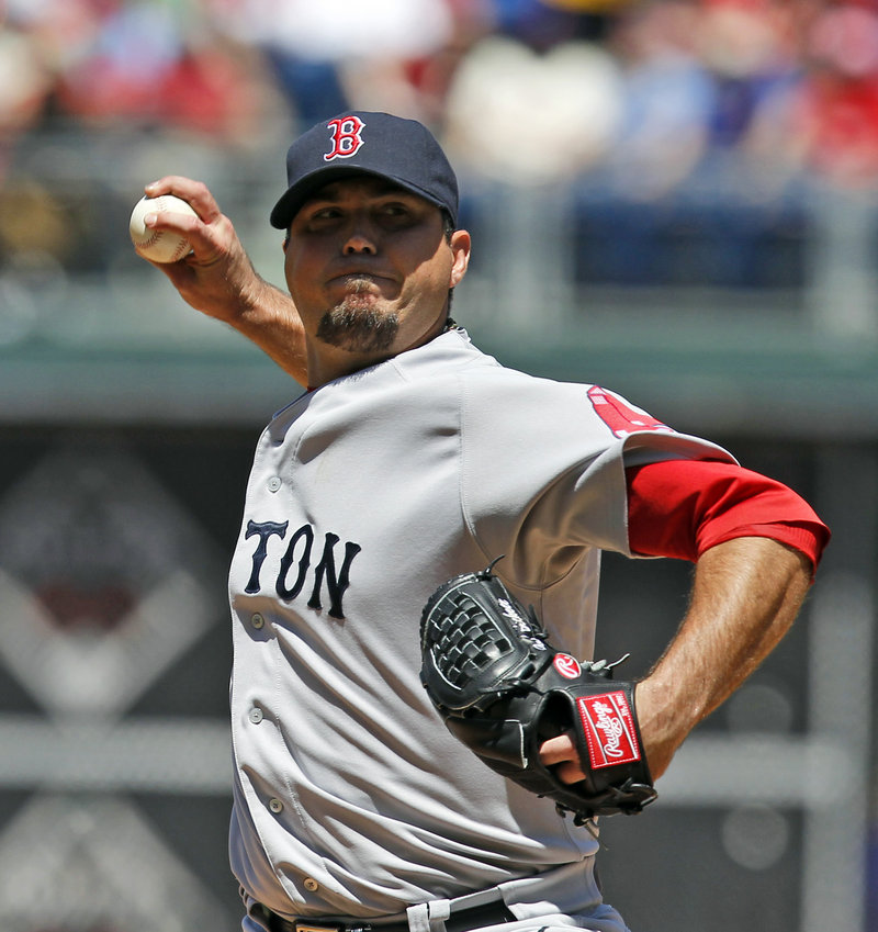 Josh Beckett of the Red Sox pitched 7 2⁄3 strong innings Sunday in beating the Phillies 5-1. Beckett has allowed just a run in his last 14 2⁄3 innings.