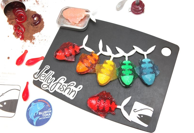"The 2011 grand prize winner of the Jell-O Mold Competition, ""Jelly Fishin',"" was a collection of fishing lures flavored to actually attract fish. Peter Pracilio's lemon sinkers, butter crab bait lures, and raspberry and chocolate worms were actually put to the test on the Brooklyn waterfront."