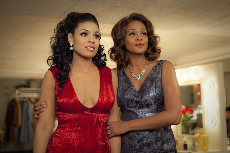 "Singer-actresses Jordin Sparks, left, and Whitney Houston are shown in a scene from the upcoming film ""Sparkle."""