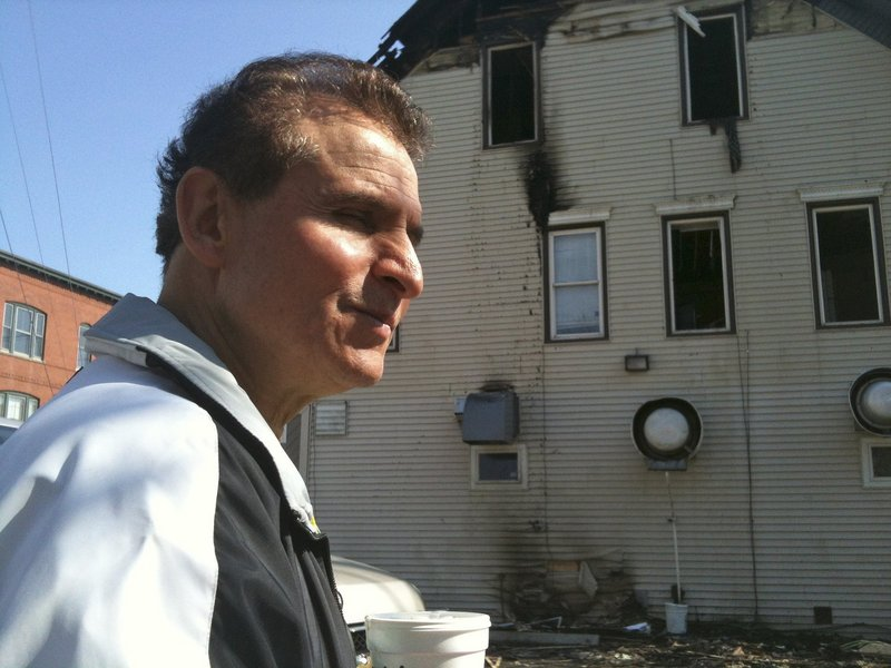 Gorham House of Pizza owner Angelo Sotiropoulos was on the scene the day after a fire damaged an apartment above his business April 19. He plans to rebuild and reopen.