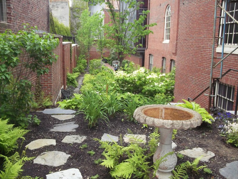 A view of the Longfellow Garden from the Wadsworth-Longfellow House.