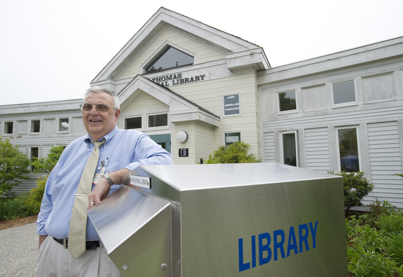 During his nearly 17 years as director of Cape Elizabeth's library, Jay Scherma has had to deal with numerous repair problems in the aging building. Overall, he says, it's an exciting time for libraries as materials become digitized and libraries work to expand access to books.