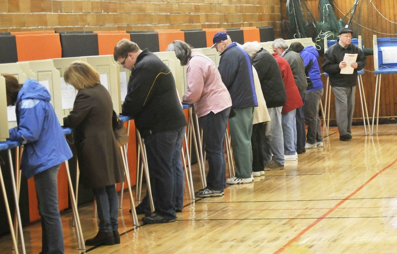 Biddeford residents vote at the J. Richard Martin Community Center on Election Day last November.