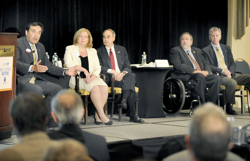Republican candidates for the U.S. Senate, from left, Richard Bennett, Debra Plowman, Bruce Poliquin, William Schneider and Charlie Summers gather at a forum on Wednesday. A sixth GOP candidate, Scott D'Amboise, did not attend.