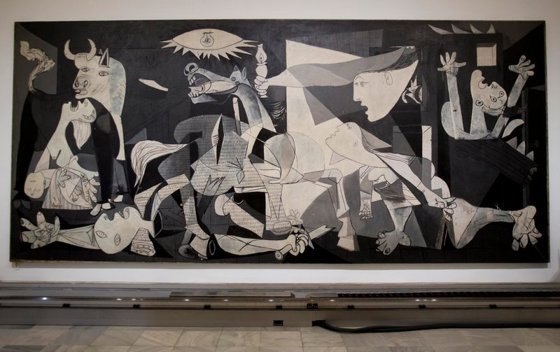 "Picasso's ""Guernica"" hangs at the Reina Sofia Museum in Madrid."