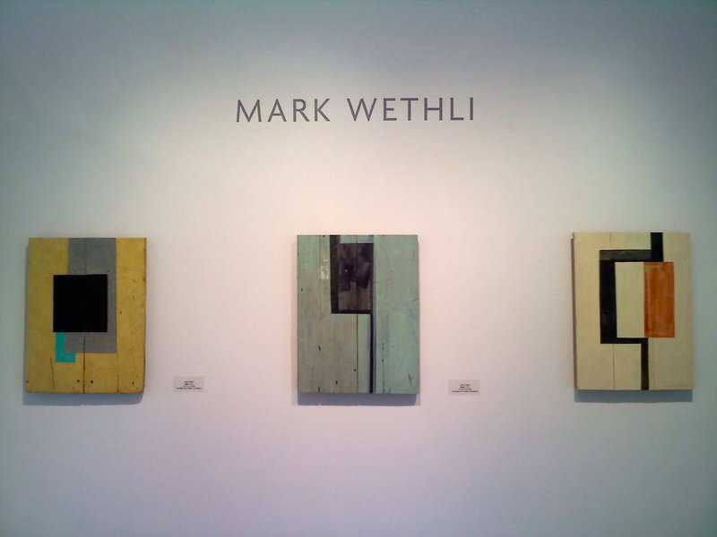 """Cleft,"" ""Seam,"" and ""Map"", acrylic on panel, by Mark Wethli."