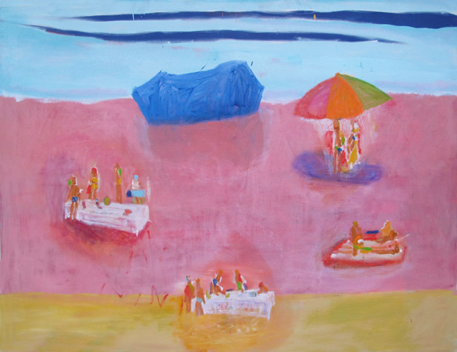 """Picnic at Blue Rock,"" oil on canvas, by Katherine Bradford."
