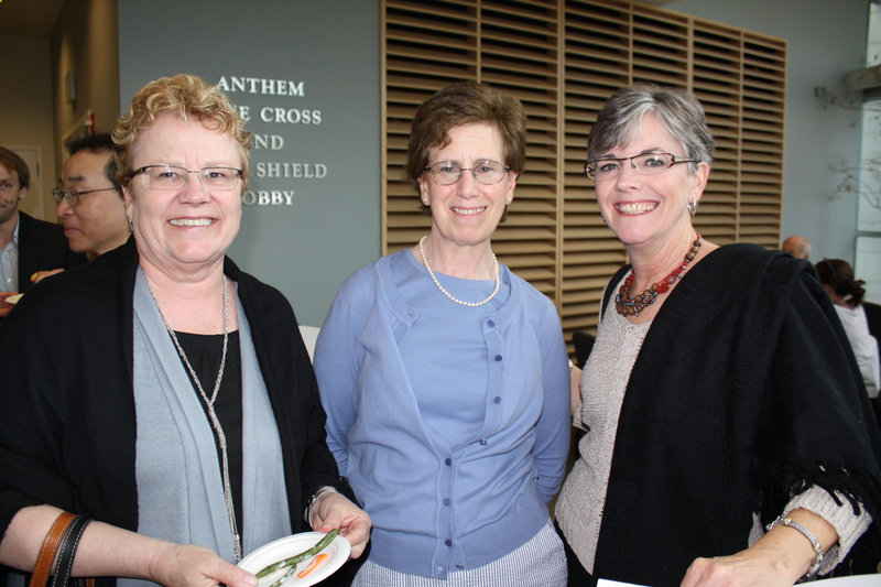 Deborah Shaw, a former Goodwill board member, Ellen Moy of Kennebunk and Eugenie Thompson of Freeport at the Circle of Films event at USM's Abromson center.