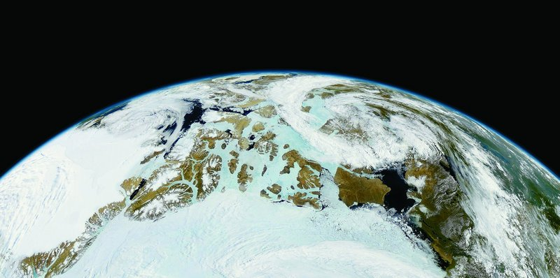 """Northern Canada and Northern Greenland, OrbView-2"" by Michael Benson, July 9, 1999."