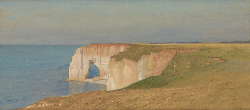 """Cliffs at Etretat"" by Samuel Colman, watercolor on paper, circa 1873."