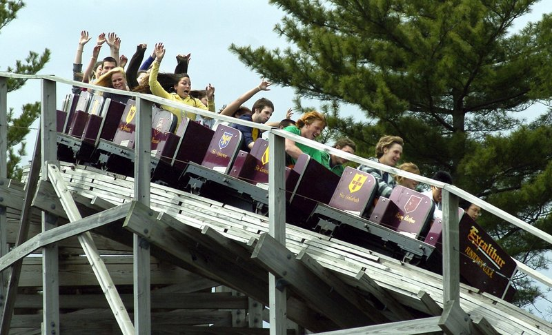The Excalibur roller coaster is a popular ride at Funtown/Splashtown in Saco.