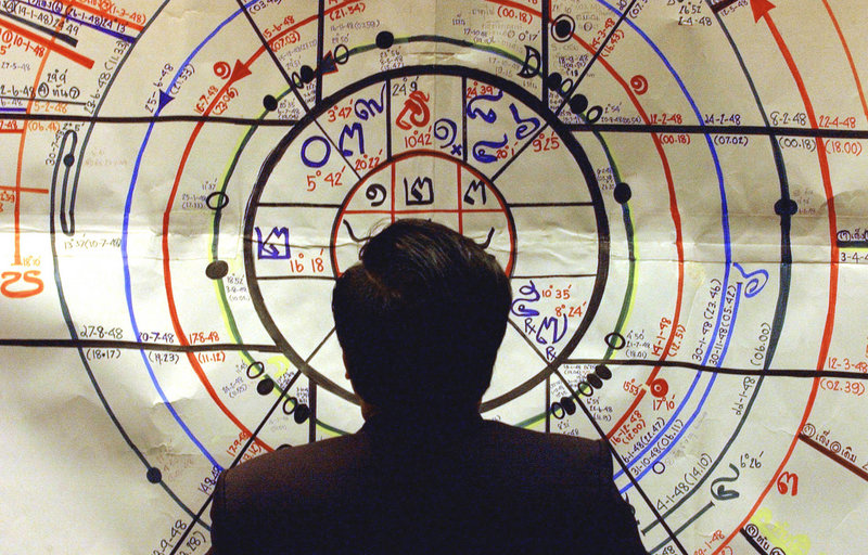 An astrologer uses an astrology chart to predict the future. Some 1,500 astrologers are meeting to contemplate planetary alignments this week in New Orleans.