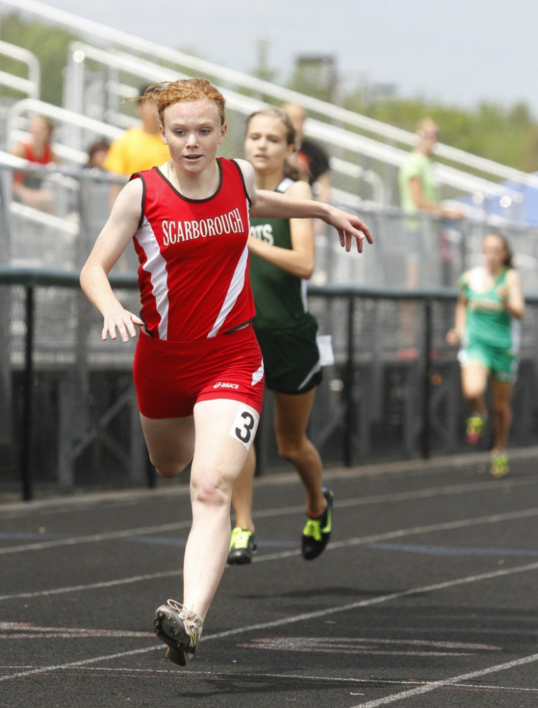 Emily Tolman of Scarborough not only won the 400 meters Saturday at the SMAA championships, but also finished third in the long jump and ran on two relay teams that placed first and second. Westbrook shortstop Collin Joyce fields a throw in plenty of time to tag out Greg Viola during Scarborough's 2-0 win Tuesday.