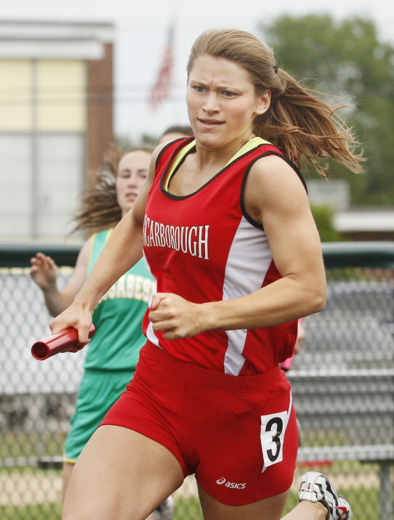 Nicole Kirk anchors the winning 400 relay team for Scarborough, which captured the championship in the girls' portion of the SMAA meet.