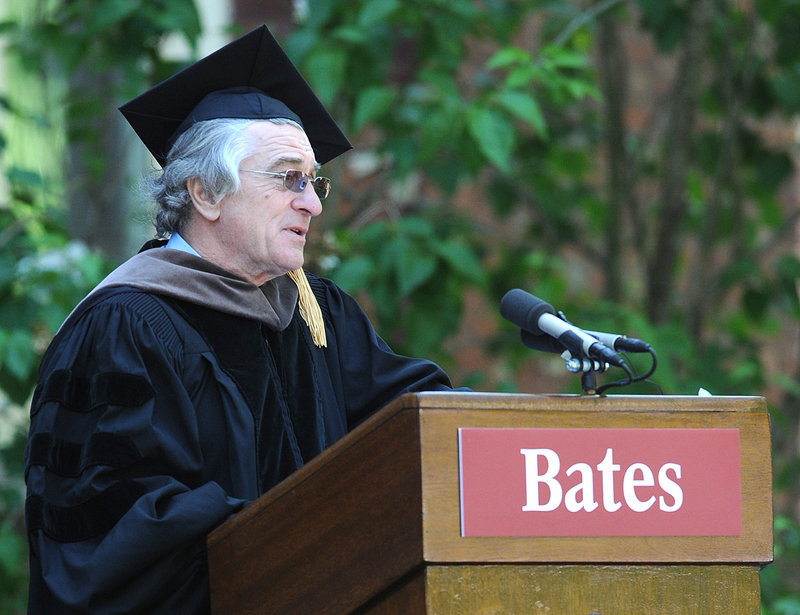 "Robert De Niro tells Bates grads he saved nearly $6,000 by eschewing college in his youth. ""If I had waited until now,"" he joked, ""I could have saved around a quarter of a million."""