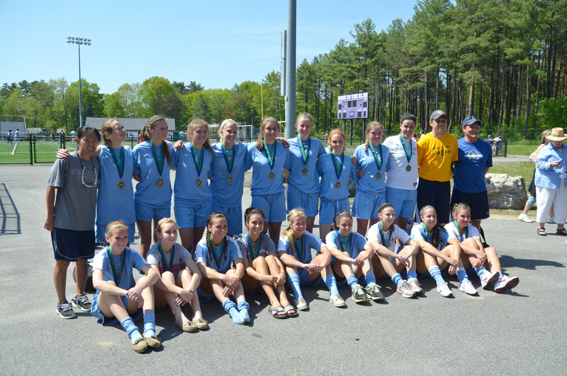 Members of Seacoast United Maine's U17 girls' soccer team are, from left to right: Front – Hannah Kallis and Marissa Duncan of Sanford; Jessica Meader of Scarborough; Holly Rand of North Yarmouth; Paige Tetu of Brunswick; Erin Smith of Gorham; Kip Chapman of Brunswick; Taylor Leborgne of Scarborough; and Sam Bryan of Sanford; Back – Coach Su DelGuercio; Cassie Darrow of Falmouth; Sarah Ingraham of Cumberland; Ashley Ronzo, Maria Philbrick and Sarah Martens of Scarborough; Allison Hill of Brunswick; Megan Decker of Yarmouth; Katie Couture of Saco; Emily Richard of Arundel; Coach Paul Cameron; and Coach Bill Meader. Absent: Julia Mitiguy of Cumberland.