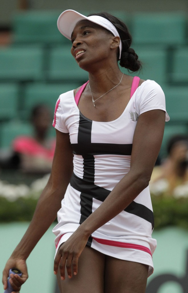 Venus Williams, who has won seven Grand Slam titles, had a lackluster day at the French Open on Wednesday, losing in the second round to Agnieszka Radwanska, 6-2, 6-3 in Paris.