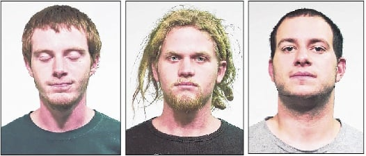 From left, Brian Church, Brent Vincent Betterly and Jared Chase are charged with providing material support for terrorism, conspiracy to commit terrorism and possession of explosives in connection with the NATO summit in Chicago.