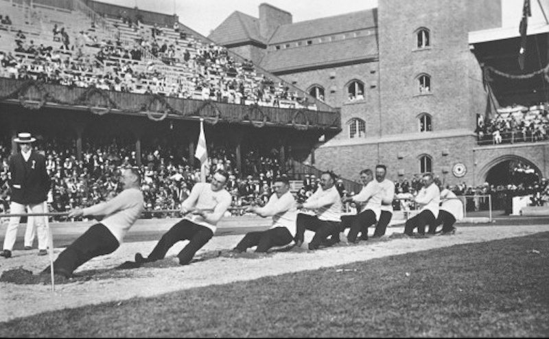 The Swedish tug of war team competes in at the 1920 Olympics. Tug of War is one of many Olympic sports that have fallen by the wayside.