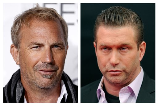 In this photo combo, actor Kevin Costner, left, arrives at a screening of