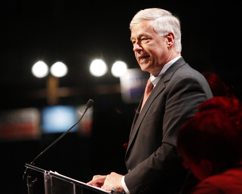 U.S. Rep. Michael Michaud speaks during the convention at the Augusta Civic Center Friday.