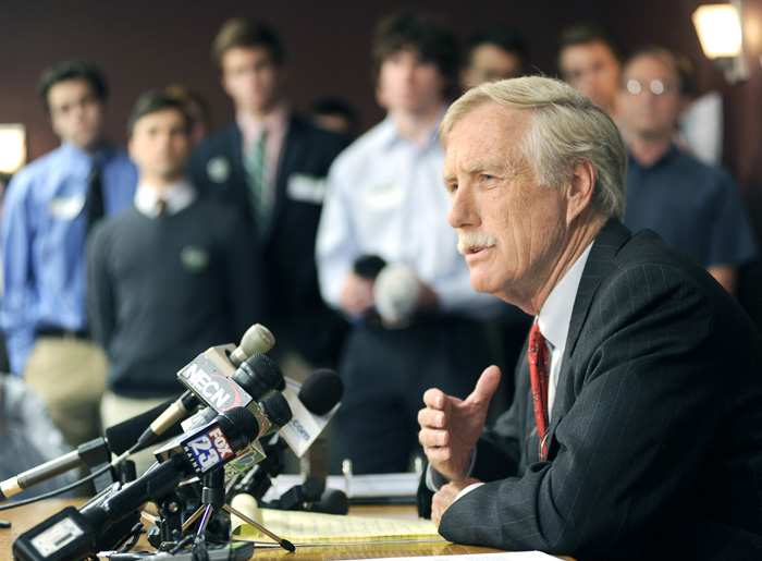 U.S. Senate candidate Angus King, speaking during a press conference in Brunswick today: