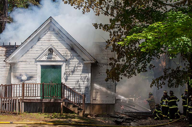 Flames were already going throught the roof of the Richville Chapel in Standish firefighters from Standish and five neighboring towns were called in Thursday afternoon.