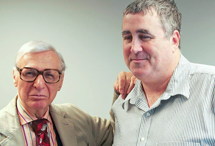 The Amazing Kreskin, left, and Steve Woods, an independent candidate campaigning to be Maine's next U.S. senator, are show here in an image from Kreskin's website.