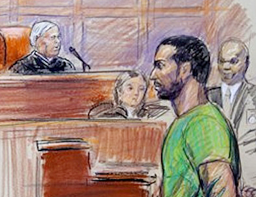 This artist rendering shows Amine El Khalifi before U.S. District Judge T. Rawles Jones Jr. in federal court in Alexandria, Va., on Feb. 17, 2012.