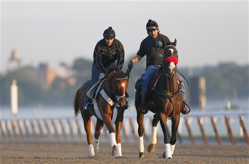 I'll Have Another, left, with exercise rider Jonny Garcia, accompanied by stablemate Lava Man, trains at Belmont Park today in Elmont, N.Y. The Triple Crown hopeful was to run Saturday in the Belmont Stakes.
