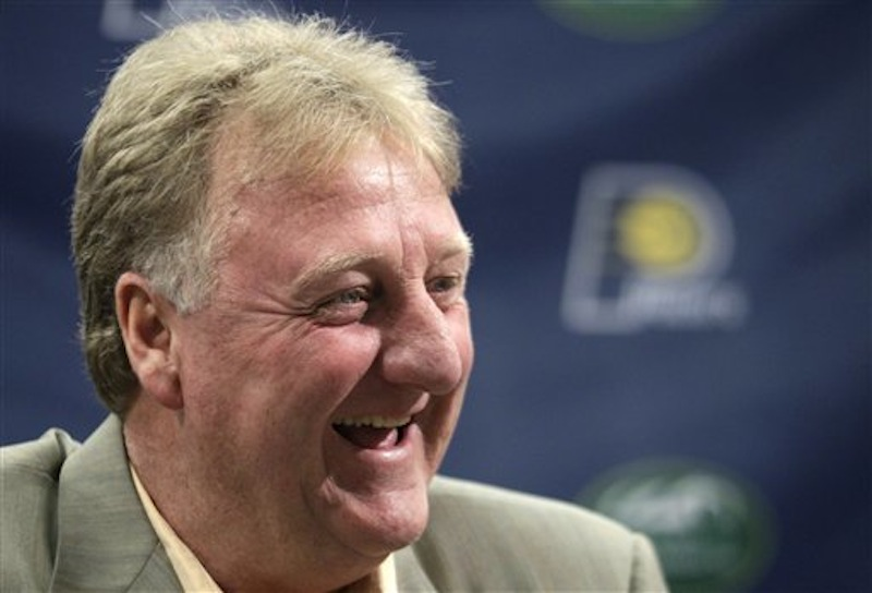 Larry Bird, Indiana Pacers president of basketball operations, talks about the teams future during a news conference in Indianapolis, Wednesday, May 30, 2012. According to a published report, Bird is leaving the Pacers organization. (AP Photo/Michael Conroy)