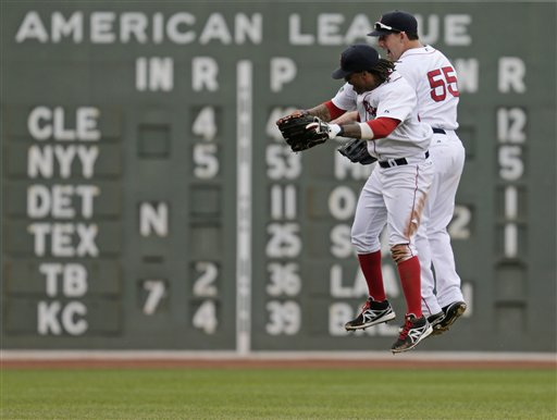 Boston Red Sox left fielder Darnell McDonald and center fielder Ryan Kalish (55) bump as they leap after beating the Toronto Blue Jays 10-4 Wednesday in Boston.