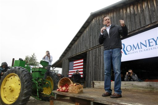 Republican presidential candidate Mitt Romney, campaigning here in Gilbert, S.C., tells voters in small towns that he planted alfalfa on his uncle's farm as a teenager.