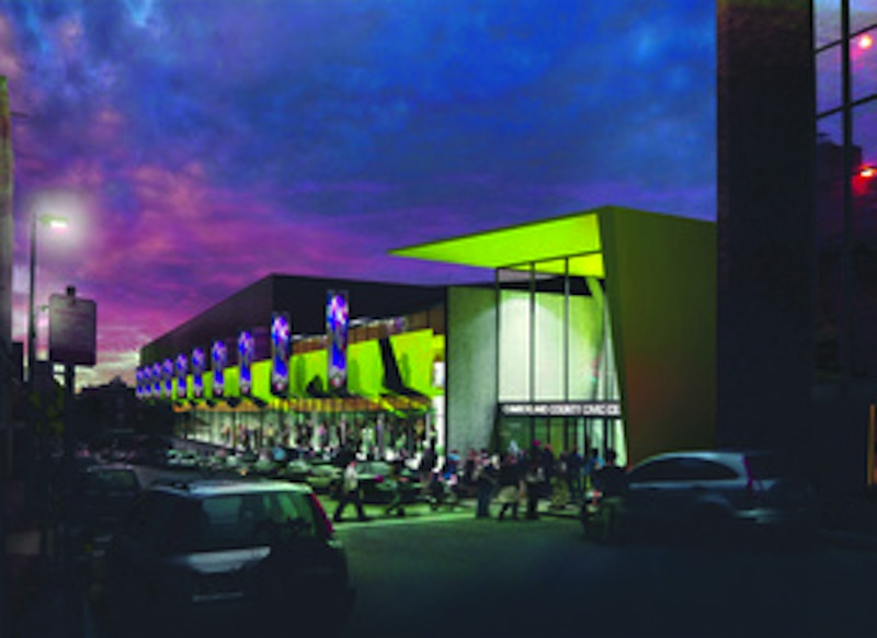 An artist rendering of the exterior of the Cumberland County Civic Center, which is expected to undergo a $33 million renovation beginning in August.