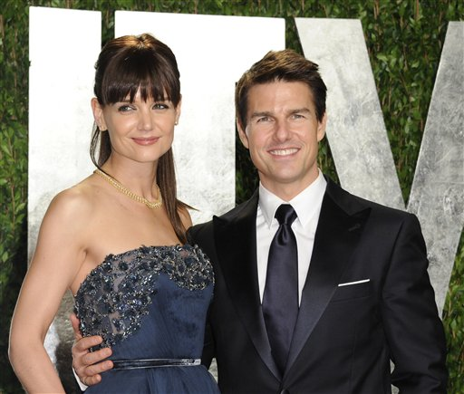 Actors Tom Cruise and Katie Holmes arrive at the Vanity Fair Oscar party, in West Hollywood, in this Feb. 26, 2012, photo.