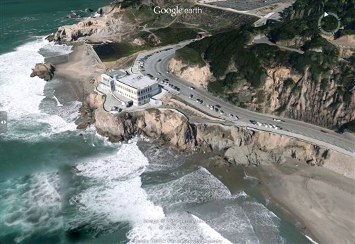 This image released by Google shows a three-dimensional view of the Cliff House in San Francisco on Google Earth. Google's digital mapping service is preparing to introduce offline access on mobile devices and more three-dimensional images of major cities as it braces for a possible loss in traffic from Apple's iPhone and iPad.