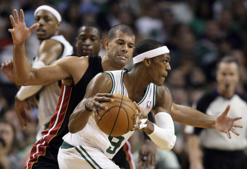 Boston Celtics guard Rajon Rondo drives against Miami Heat forward Shane Battier in the third quarter of Game 3 of the NBA Eastern Conference finals in Boston on Friday. Boston won, 101-91.