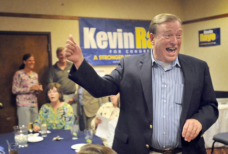 State Senate President Kevin Raye celebrates in Bangor on Tuesday night as he wins the Republican nomination for Maine's 2nd Congressional District. Raye will challenge Democratic U.S. Rep. Mike Michaud in November.